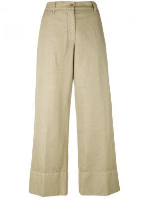 Широкие укороченные брюки Aspesi. Цвет: телесный