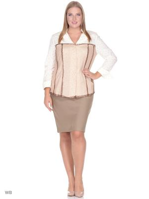 Блузка BERKLINE. Цвет: бежевый, коричневый