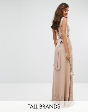 Maya Tall Декорированное платье макси с бантом сзади. Цвет: розовый