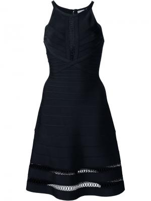 Платье А-образного силуэта Hervé Léger. Цвет: чёрный