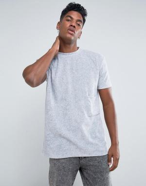 Antioch Свободная футболка с велюровым карманом. Цвет: серый