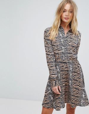 Supertrash Платье с тигровым принтом Dars. Цвет: мульти