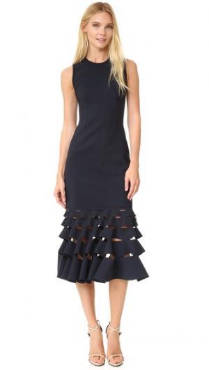 Свободное платье с косыми разрезами и оборками Dion Lee. Цвет: чернильный