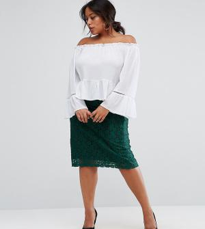 Rage Plus Кружевная юбка-карандаш миди. Цвет: зеленый