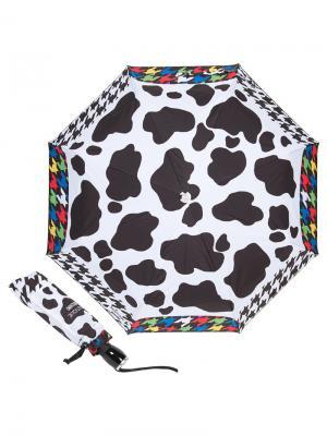 Зонт складной Moschino 7430-OCA Pied de Poule Cow Multi. Цвет: черный,белый