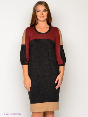 Платье МадаМ Т. Цвет: антрацитовый, бордовый, светло-коричневый