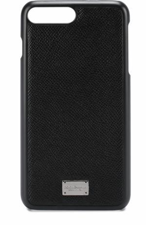 Кожаный чехол для iPhone 7 Plus Dolce & Gabbana. Цвет: черный