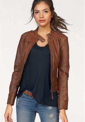 Кожаная куртка AJC. Цвет: коньячный