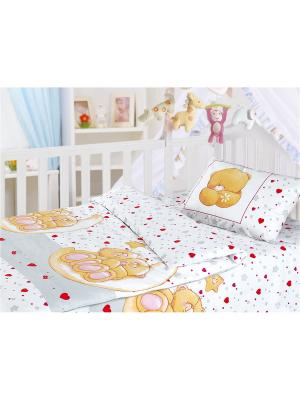 Комплект постельного белья, ясли, наволочка 40*60см, бязь, Влюбленный медвежонок Волшебная ночь. Цвет: светло-голубой, белый