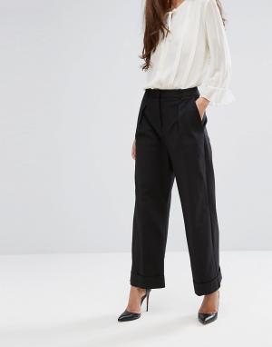 Closet London Широкие брюки с манжетами. Цвет: черный