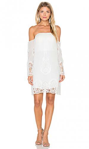 Платье с открытыми плечами secret garden Lumier. Цвет: белый