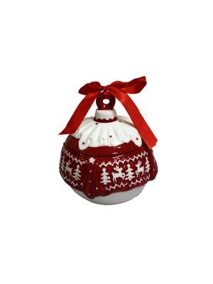 Конфетница Новогодний Шар Д 12 см и/уп Elff Ceramics. Цвет: красный, белый