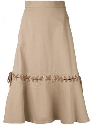 Джинсовая юбка со шнуровкой G.V.G.V.. Цвет: коричневый