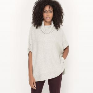 Пуловер с отворачивающимся воротником в стиле пончо SUD EXPRESS. Цвет: экрю меланж