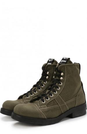 Высокие замшевые ботинки на шнуровке O.X.S.. Цвет: хаки