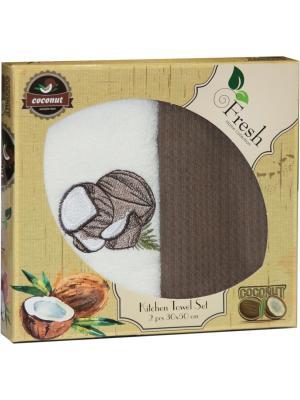 Кухонные полотенца в подарочной коробке ЛЮКС  2 шт., 30х50 см, 100% хлопок Dorothy's Нome. Цвет: темно-коричневый, темно-бежевый