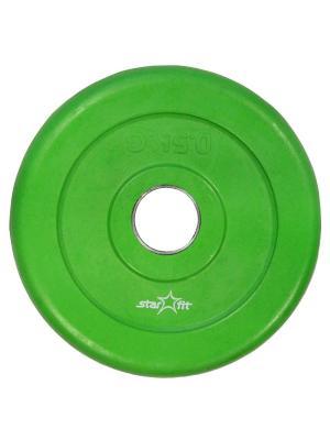 Диск обрезиненный STARFIT BB-201 0,5 кг, стальная втулка, зеленый. Цвет: зеленый