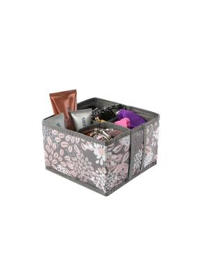 Кофр для косметики и мелочей 4 ячейки 15х15х10см Серебро COFRET. Цвет: серый, розовый, белый