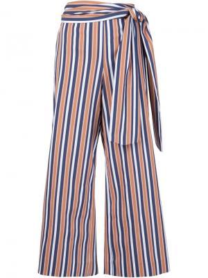 Укороченные брюки Sahara в полоску Tanya Taylor. Цвет: белый