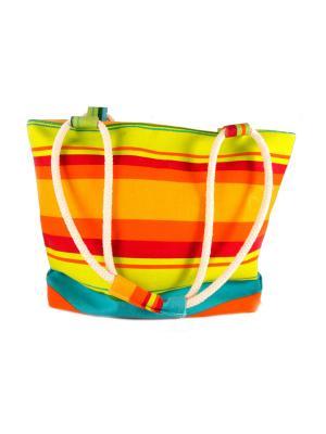 Сумка пляжная Яркие каникулы Русские подарки. Цвет: бежевый, оранжевый, желтый