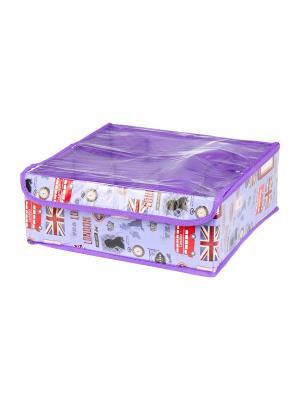 Кофр для нижнего белья и носков Красочный Лондон EL CASA. Цвет: фиолетовый, красный, сиреневый
