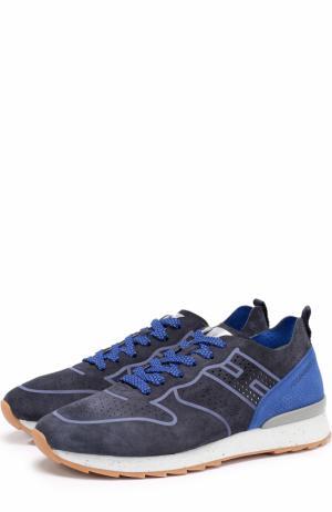Замшевые кроссовки на шнуровке с перфорацией Hogan. Цвет: темно-синий