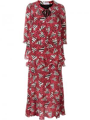 Платье с принтом зебр Ryan Lo. Цвет: чёрный