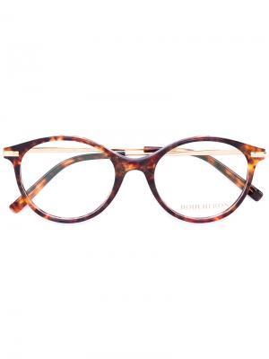 Очки с круглой оправой Boucheron. Цвет: коричневый