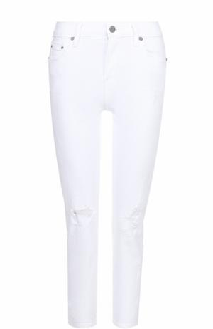 Укороченные джинсы-скинни с потертостями Citizens Of Humanity. Цвет: белый