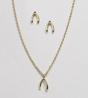 Orelia Подарочный набор с ожерельем и серьгами. Цвет: золотой