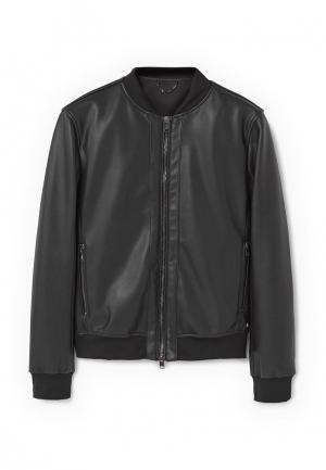 Куртка кожаная Mango Man. Цвет: черный