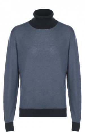 Водолазка из смеси шерсти и кашемира с добавлением шелка Brioni. Цвет: голубой