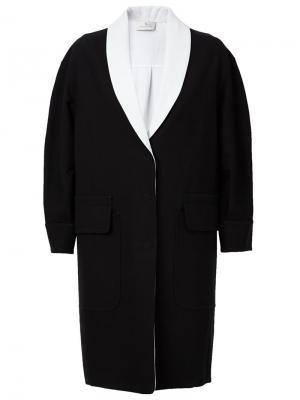 Двухцветное однобортное пальто Maison Ullens. Цвет: чёрный