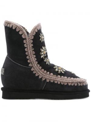 Ботинки Eskimo с цветочными деталями Mou. Цвет: серый