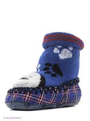Тапочки-носки противоскользящие BROSS. Цвет: синий, белый