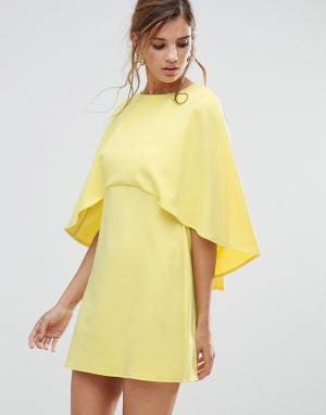 ASOS Цельнокройное платье мини с накидкой. Цвет: желтый