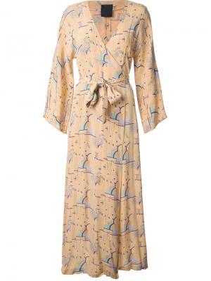 Вечернее платье с рукавами кимоно Biba Vintage. Цвет: жёлтый и оранжевый
