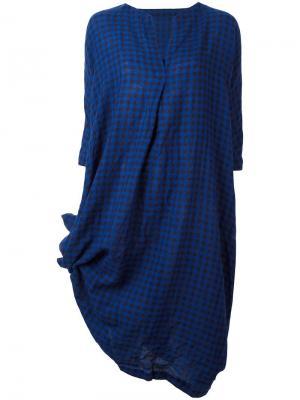 Платье с V-образным вырезом в клетку Daniela Gregis. Цвет: синий