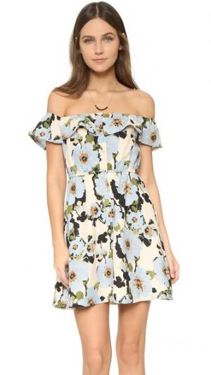 Мини-платье с цветочным рисунком J.O.A.. Цвет: синий мульти