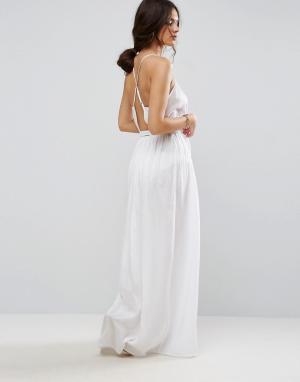ASOS Пляжное платье макси с запахом. Цвет: белый