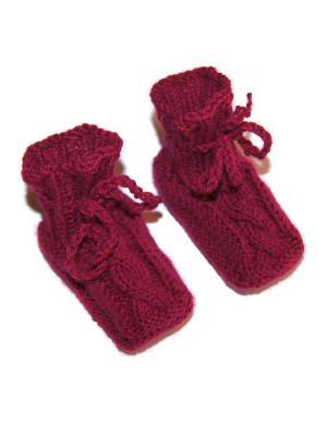 Пинетки Бабушкино тепло. Цвет: бордовый