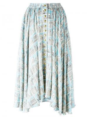 Пышная юбка с графическим принтом Olympia Le-Tan. Цвет: синий