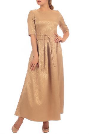 Длинное платье с рукавами 1/2 Lamiavita. Цвет: бежевый, золотистый