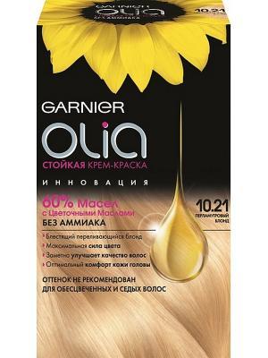 Стойкая крем-краска для волос Olia без аммиака, оттенок 10.21, Перламутровый Блонд Garnier. Цвет: светло-бежевый