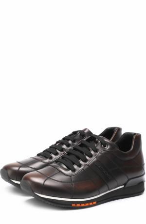 Кожаные кроссовки на шнуровке A. Testoni. Цвет: коричневый