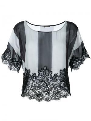Полосатая футболка с кружевной отделкой Rosamosario. Цвет: чёрный
