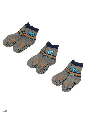 Носки махровые,комплект 3 шт. DAG. Цвет: серый