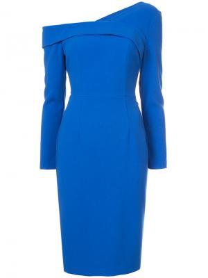 Asymmetric neck fitted dress Black Halo. Цвет: синий
