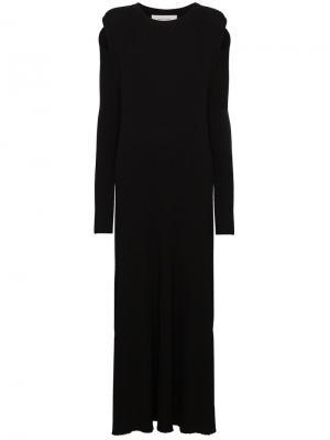 Длинное платье  в рубчик Marquesalmeida Marques'almeida. Цвет: чёрный