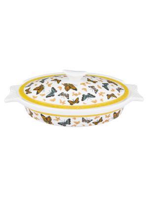 Блюдо для запекания Бабочки Elan Gallery. Цвет: белый, золотистый, оранжевый